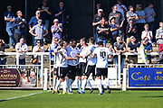 Bromley Forward Tobi Sho-Silva celebrates his goal 1-0 during the Vanarama National League match between Bromley FC and Wrexham FC at Hayes Lane, Bromley, United Kingdom on 8 April 2017. Photo by Jon Bromley.