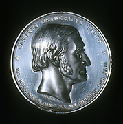 Karl Friederich Gauss (1777-1855) German mathematician, astronomer and physicist, born in Brunswick. From obverse of commemorative silver medal