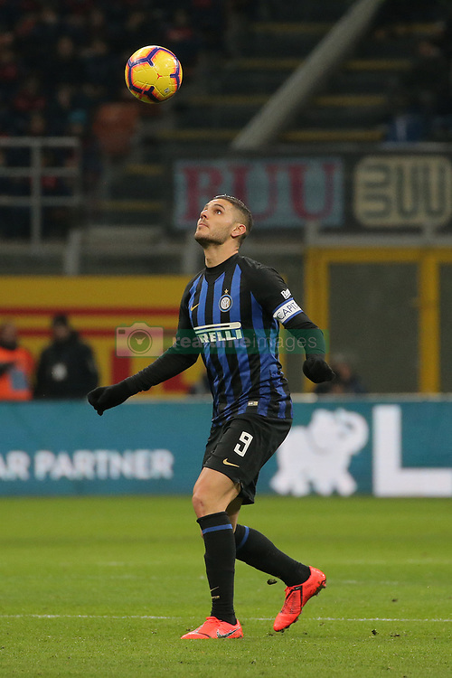 January 19, 2019 - Milan, Milan, Italy - Mauro Icardi #9 of FC Internazionale Milano in action during the serie A match between FC Internazionale and US Sassuolo at Stadio Giuseppe Meazza on January 19, 2019 in Milan, Italy. (Credit Image: © Giuseppe Cottini/NurPhoto via ZUMA Press)