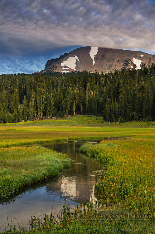 Lassen Peak and Kings Creek at Upper Meadow, Lassen Volcanic National Park, California