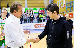 Metod Ropret and Dejan Fujs, head coach of Panvita Pomgrad after the volleyball game between OK Panvita Pomgrad and ACH Volley in Final of 1st DOL Slovenian National Championship 2014, on April 15, 2014 in Murska Sobota, Slovenia. ACH won 3-1 and became Slovenian Volleyball Champion 2014. Photo by Vid Ponikvar / Sportida