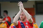 York City defender Keith Lowe during the Sky Bet League 2 match between Newport County and York City at Rodney Parade, Newport, Wales on 5 September 2015. Photo by Simon Davies.