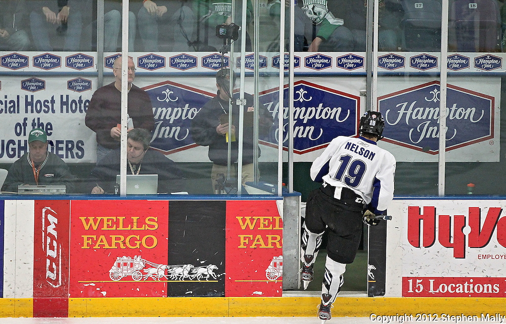Force's Jordan Nelson (19) enters the penalty box during the game at the Cedar Rapids Ice Arena, 1100 Rockford Road SW in Cedar Rapids on Saturday evening, February 18, 2012. (Stephen Mally/Freelance)