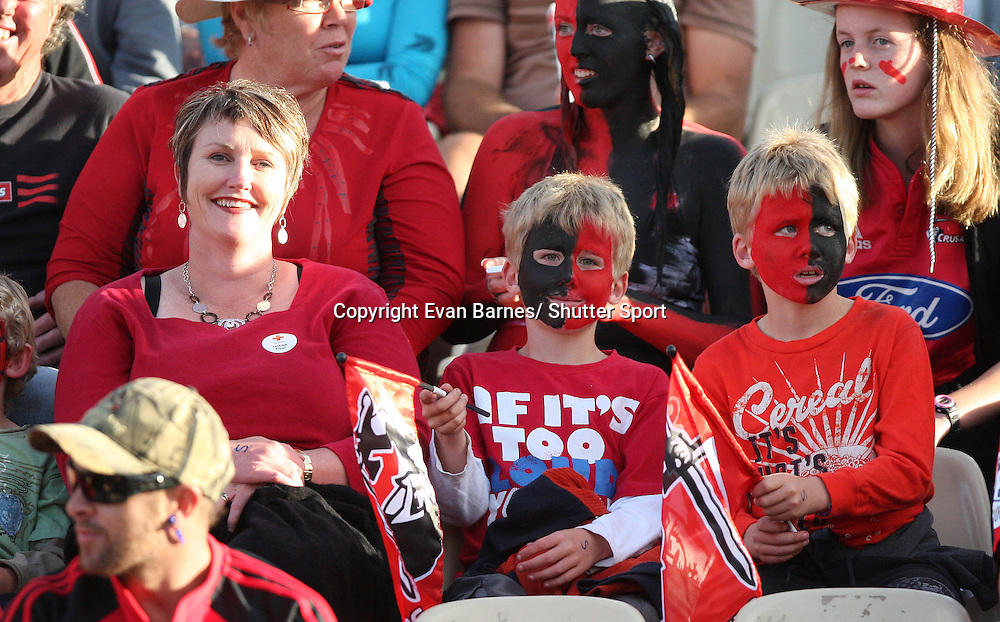 Fans at the game, 11 March 2011, Trafalgar Park, Nelson, New Zealand. Photo: Evan Barnes /  Photosport.