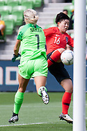 MELBOURNE, VIC - MARCH 06: Sodam Lee (16) of Korea Republic attempts to compete with Erin Nayler (1) of New Zealand during The Cup of Nations womens soccer match between New Zealand and Korea Republic on March 06, 2019 at AAMI Park, VIC. (Photo by Speed Media/Icon Sportswire)