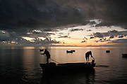 Fishermen set out for night fishing from a south coast pier.