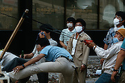 Seoul, Korea. Students catapulting Molotov cocktails.