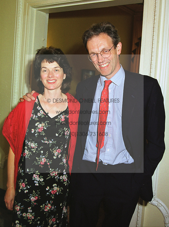 MR JON & LADY ALEXANDRA CONNELL he is editor of The Week,  at a party in London on 17th June 1999.MTK 13