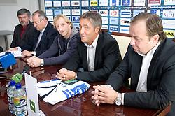 Roman Jakic, Ernest Aljancic, Tomaz Vnuk, Mitja Mejac and Matjaz Sekelj at the press conference due to the end of the career of Slovenian ice-hockey player Tomaz Vnuk,  on October 05, 2009, in Hala Tivoli, Ljubljana, Slovenia.   (Photo by Vid Ponikvar / Sportida)