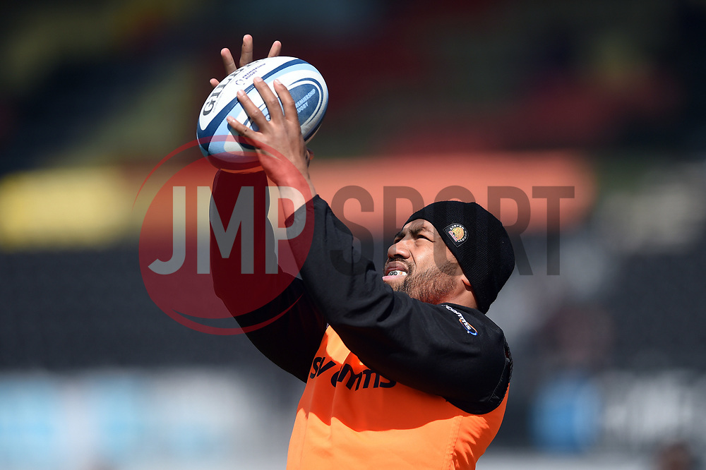 Elvis Taione of Exeter Chiefs practises his lineout throwing during the pre-match warm-up - Mandatory byline: Patrick Khachfe/JMP - 07966 386802 - 04/05/2019 - RUGBY UNION - Allianz Park - London, England - Saracens v Exeter Chiefs - Gallagher Premiership Rugby