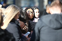 © Licensed to London News Pictures. 31/01/2018. Huddersfield, UK. Mourners attend The funeral of 15-year-old Katelyn Dawson that is taking place today at Huddersfield Parish church. Katelyn suffered fatal injuries when a BMW car smashed into a bus stop where she was waiting to go to school on Wakefield Road, Moldgreen, on Wednesday, January 10 2018. Photo credit: Andrew McCaren/LNP