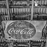 Rusting Drink Coca Cola Sign in Rafters - Eldorado Canyon - Nelson NV - HDR -  Black & White