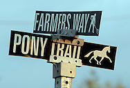 TOWNBY18P<br /> A street sign at the Middletown Grange Fairgrounds is seen Thursday October 8, 2015 in Wrightstown Pennsylvania. Wrightstown is a Bucks County community that is not as much of a destination as the towns around it. (William Thomas Cain/For The Inquirer)