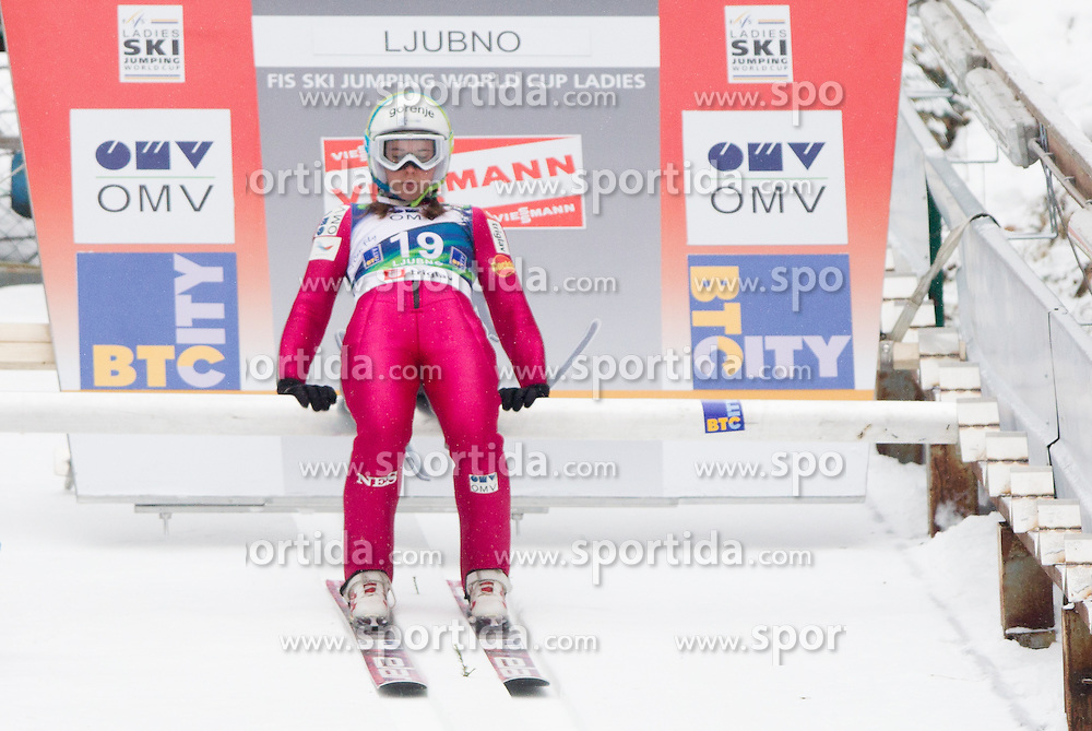 Ursa Bogataj of Slovenia during Normal Hill Individual Competition at FIS World Cup Ski jumping Ladies Ljubno 2012, on February 11, 2012 in Ljubno ob Savinji, Slovenia. (Photo By Vid Ponikvar / Sportida.com)