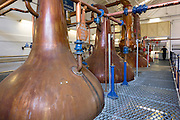 Copper spirit stills in the Stillshouse at Talisker Whisky Distillery making single malt whisky in traditional process on Isle of Skye, Scotland
