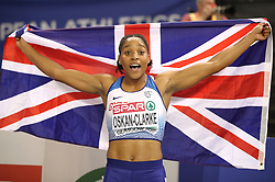 Great Britain's Shelayna Oskan-Clarke celebrates winning gold during the Women's 800m Final during day three of the European Indoor Athletics Championships at the Emirates Arena, Glasgow.
