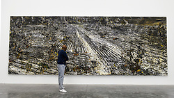"© Licensed to London News Pictures. 14/11/2019. LONDON, UK. A visitor views ""Super Strings"", 2018, by Anselm Kiefer at the preview of a new exhibition called ""Superstrings, Runes, The Norns, Gordian Knot"" by Anselm Kiefer.  The works include large scale paintings and installations that draw on the scientific concept of string theory and are on display at the White Cube Gallery in Bermondsey 15 November to 26 January 2020.  Photo credit: Stephen Chung/LNP"