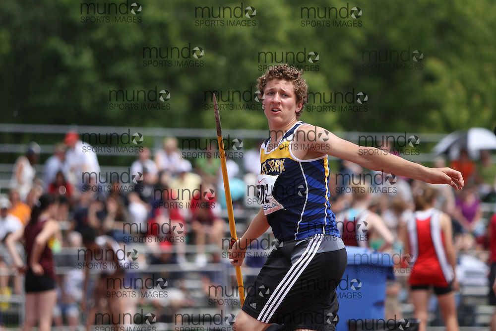 (London, Ontario}---05 June 2010) Jonathan Nyrkochvk of East York - Toronto competing in the midget boys javelin at the 2010 OFSAA Ontario High School Track and Field Championships in London, Ontario, June 05, 2010 . Photograph copyright dave chidley / Mundo Sport Images, 2010.