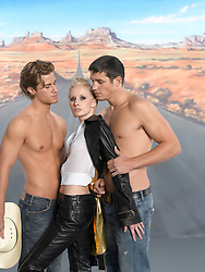 woman with two shirtless men