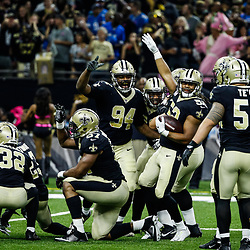 Oct 15, 2017; New Orleans, LA, USA; New Orleans Saints outside linebacker Craig Robertson (52) celebrates after a fumble recovery against the Detroit Lions during the first half of a game at the Mercedes-Benz Superdome. Mandatory Credit: Derick E. Hingle-USA TODAY Sports