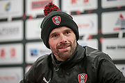 Paul Warne (Interim Manager) (Rotherham United) in the press conference after the EFL Sky Bet Championship match between Rotherham United and Brighton and Hove Albion at the AESSEAL New York Stadium, Rotherham, England on 7 March 2017. Photo by Mark P Doherty.