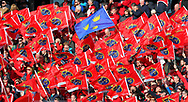 A blue Munster flag among red Munster flags during the European Rugby Champions Cup match at Thomond Park, Limerick<br /> Picture by Yannis Halas/Focus Images Ltd +353 8725 82019<br /> 01/04/2017