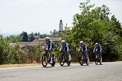Tayler Wiles (USA) leads Trek Segafredo up the final climb at Stage 1 of 2019 Giro Rosa Iccrea, an 18 km team time trial from Cassano Spinola to Castellania, Italy on July 5, 2019. Photo by Sean Robinson/velofocus.com