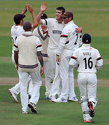 Somerset's Craig Overton celebrates the wicket of Sussex's Chris Nash - Photo mandatory by-line: Harry Trump/JMP - Mobile: 07966 386802 - 05/07/15 - SPORT - CRICKET - LVCC - County Championship Division One - Somerset v Sussex- The County Ground, Taunton, England.