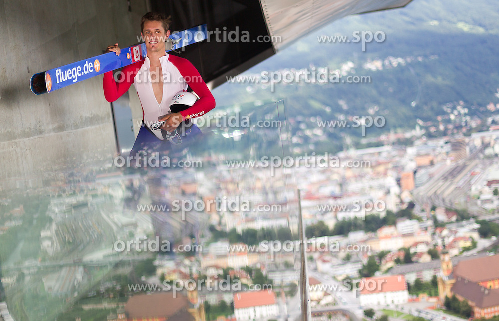 04.08.2014, Bergisel Schanze, Innsbruck, AUT, OeSV, Nordische Kombination, Medientag, im Bild Lukas Klapfer (AUT) // Lukas Klapfer (AUT) during the Austrian Skifederation Nordic Combined Media Day at ther Bergisel Hill, Innsbruck, Austria on 2014/08/04. EXPA Pictures © 2014, PhotoCredit: EXPA/ JFK