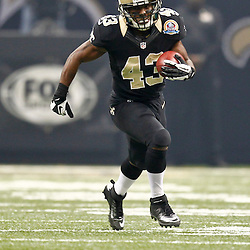 December 16, 2012; New Orleans, LA, USA; New Orleans Saints running back Darren Sproles (43) against the Tampa Bay Buccaneers during the first quarter of a game at the Mercedes-Benz Superdome. The Saints defeated the Buccaneers 41-0. Mandatory Credit: Derick E. Hingle-USA TODAY Sports