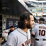 Brandon Crawford, San Francisco Giants, in the dugout during the New York Mets Vs San Francisco Giants MLB regular season baseball game at Citi Field, Queens, New York. USA. 11th June 2015. Photo Tim Clayton