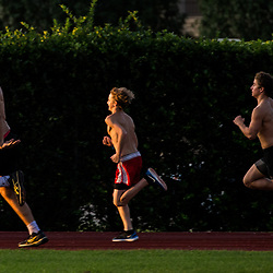 Runners of all ages run during a all comers track event sponsored by the New Orleans Club held at St Martin's Episcopal  in Metairie, La. Friday, July 7, 2017.