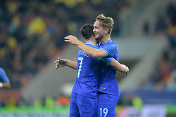 November 14, 2017 - Bucharest, Romania - Holland's Luuk de Jong and Steven Berghuis celebrate a goal during International Friendly match between Romania and Netherlands at National Arena Stadium in Bucharest, Romania, on 14 november 2017. (Credit Image: © Alex Nicodim/NurPhoto via ZUMA Press)