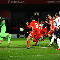 19/3/2019 - GOAL. Kayne McLaggon (Barry Town United) scores to make it 1-1 during the C International between England and Wales at the Peninsula Stadium, Salford.<br /> <br /> Pic: Mike Sheridan/County Times<br /> MS023-2019