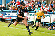 Bradford Bulls winger Joshua Rickett (27) breaks free to score the opening try during the Kingstone Press Championship match between Oldham RLFC and Bradford Bulls at Bower Fold, Oldham, United Kingdom on 13 August 2017. Photo by Simon Davies.