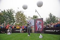 Tiger Woods of USA, hits a shot during the Duel at Jinsha Lake at the Golf Villa Jinsha Lake with Rory McIlroy of Northern Ireland on October 29, 2012 in Zhengzhou, China. Photograph by David Paul Morris