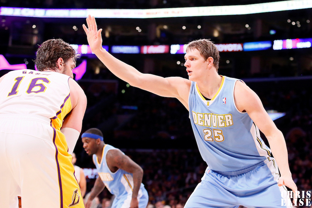 05 January 2014: Denver Nuggets center Timofey Mozgov (25) defends on Los Angeles Lakers center Pau Gasol (16) during the Denver Nuggets 137-115 victory over the Los Angeles Lakers at the Staples Center, Los Angeles, California, USA.