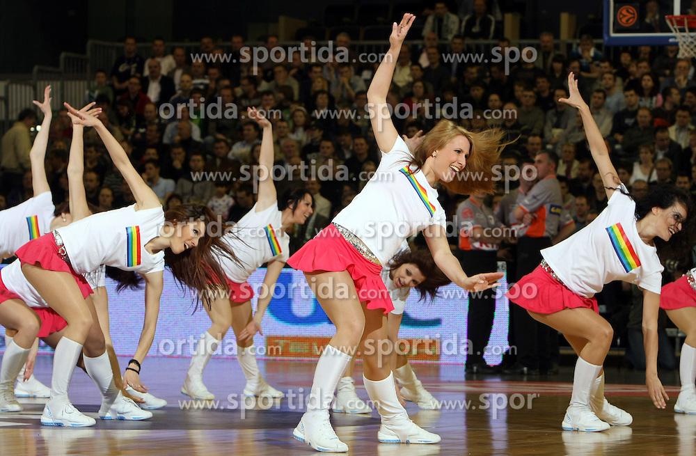 Zmajcice - dance group during second semi-final match of Basketball NLB League at Final four tournament between KK Partizan Igokea, Beograd, Serbia and Union Olimpija, Ljubljana, Slovenia, on April 25, 2008, in Arena Tivoli in Ljubljana. Match was won by Partizan 94:90. (Photo by Vid Ponikvar / Sportal Images)