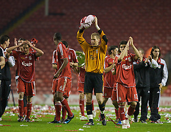 LIVERPOOL, ENGLAND - Wednesday, May 7, 2008: Liverpool goalkeeper Peter Gulacsi celebrates beating Aston Villa 3-0 during the play-off final of the FA Premier League Reserve League at Anfield. (Photo by David Tickle/Propaganda)