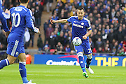 Chelsea's John Terry on the ball during the Capital One Cup Final between Chelsea and Tottenham Hotspur at Wembley Stadium, London, England on 1 March 2015. Photo by Phil Duncan.