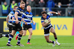 Anthony Watson of Bath Rugby in possession - Mandatory byline: Patrick Khachfe/JMP - 07966 386802 - 04/03/2017 - RUGBY UNION - The Recreation Ground - Bath, England - Bath Rugby v Wasps - Aviva Premiership.