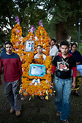 During the Day of the Dead parade in Tzintzuntzan, Mexico.