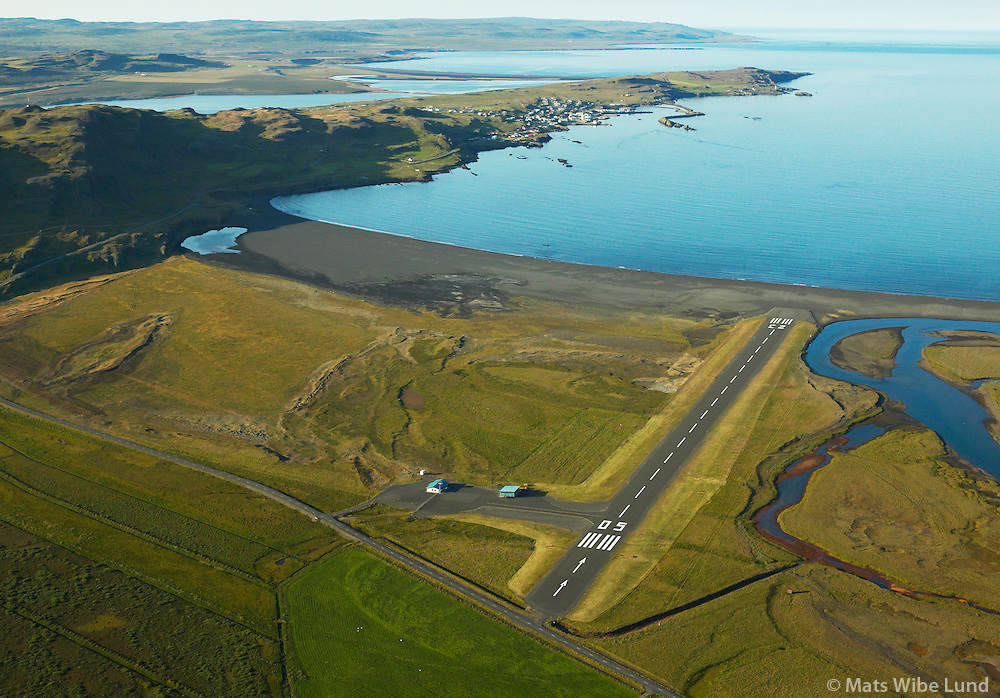 BIVO Vopnafjarðarflugvöllur, séð til norðvesturs, Vopnafjörður ,Vopnafjarðarhreppur. / .BIVO Vopnafjordur airport viewing northwest. Vopnafjardarhreppur.
