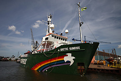 NETHERLANDS AMSTERDAM 11MAY11 - Greenpeace ship Arctic Sunrise at the Oranjewerft in Amsterdam prior to embarking on the Arctic Oil campaign......Photo by Jiri Rezac / Greenpeace