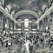 Grand Central Station Terminal in black and white, Main Concourse, New York City.