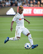 Los Angeles FC forward Latif Blessing (7) moves the ball against New York City during a MLS soccer match in Los Angeles, Sunday, May 13, 2018. The game ended in a 2-2 tie. (Ed Ruvalcaba/Image of Sport)