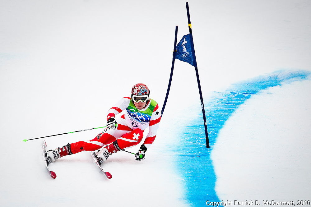 Carlo Janka, SUI, competes in the Men's Giant Slalom during the 2010 Vancouver Winter Olympics in Whistler, British Columbia, Tuesday, Feb. 23, 2010. Janka won the gold medal with his first place finish.