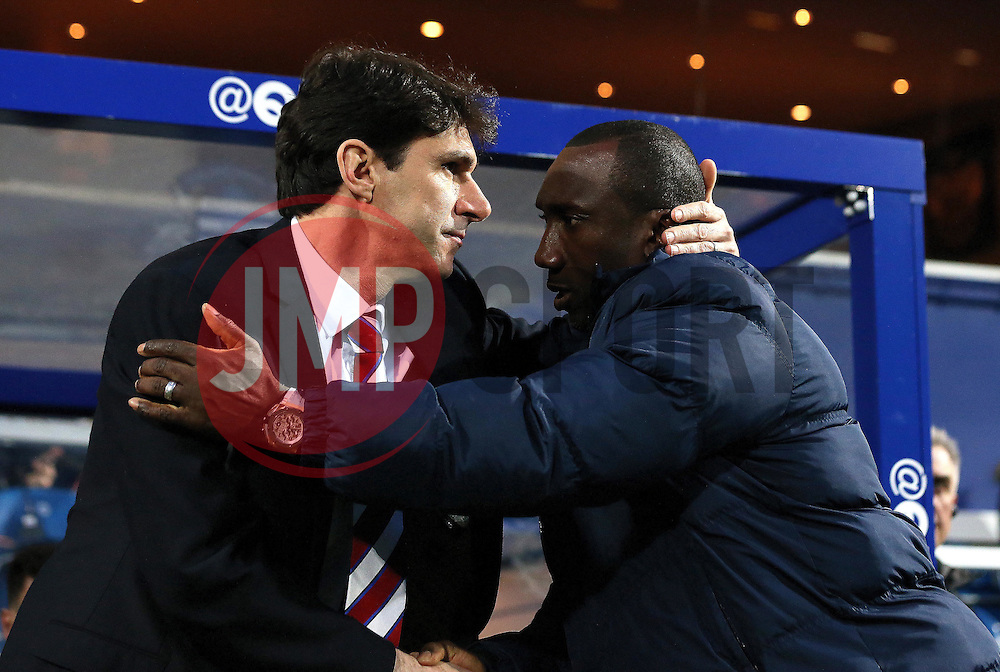 Middlesbrough Manager Aitor Karanka and Queens Park Rangers Manager Jimmy Floyd Hasselbaink shake hands - Mandatory by-line: Robbie Stephenson/JMP - 01/04/2016 - FOOTBALL - Loftus Road - London, England - Queens Park Rangers v Middlesbrough - Sky Bet Championship