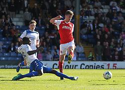 Leon Barnett of Bury tackles Cameron Brannagan of Fleetwood Town (R) - Mandatory by-line: Jack Phillips/JMP - 25/03/2017 - FOOTBALL - Gigg Lane - Bury, England - Bury v Fleetwood Town - Football League 1