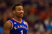 FORT WORTH, TX - JANUARY 28: Wayne Selden Jr. #1 of the Kansas Jayhawks looks on against the TCU Horned Frogs on January 28, 2015 at Wilkerson-Greines AC in Fort Worth, Texas.  (Photo by Cooper Neill/Getty Images) *** Local Caption *** Wayne Selden Jr.